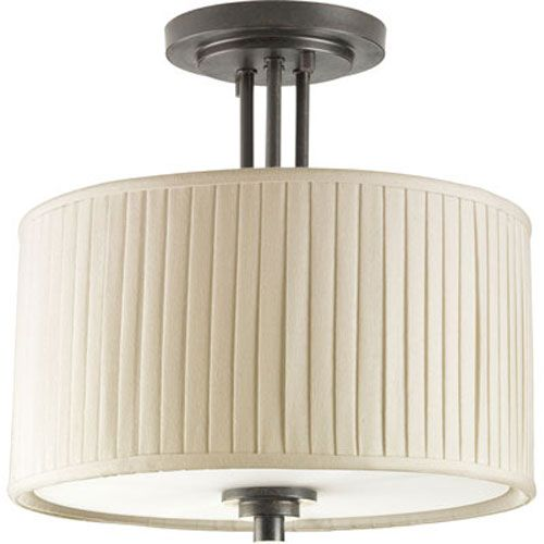 For a separate foyer light. 13W  $178  Clayton Espresso Two-Light Semi-Flush Mount with Cream Pleated Linen Shade