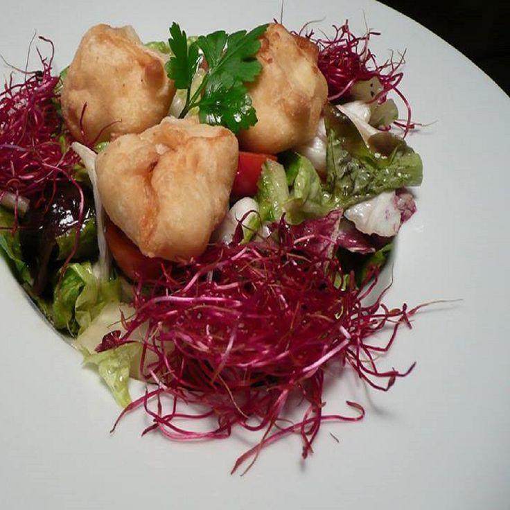#restaurace #ukastanubranik Nugety z kozího sýra smažené v listovém těstu, podávané na jarním salátu s cherry tomaty, dochucené  medovo - hořčičným dresinkem.  http://www.ukastanu.cz/branik.html