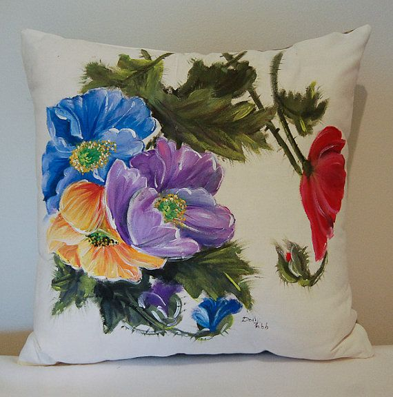 Hand Painted Pillow by Dolly by GrinningLikeAnIdiot on Etsy, $85.00