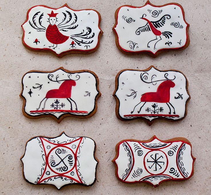 Обрядовое печенье мезенская роспись