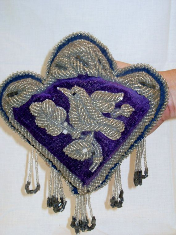 ANTIQUE Beaded Velvet native american IROQUOIS BIRD