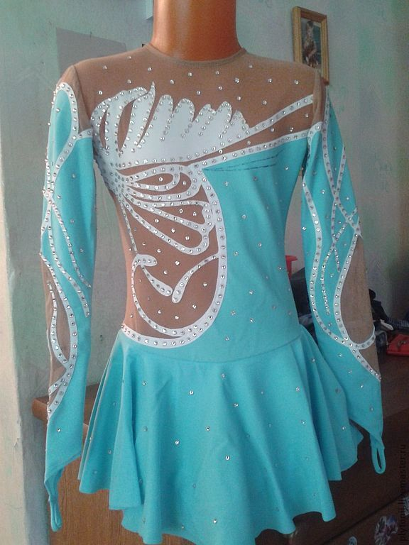 Купить Платье для фигурного катания на выступление - голубой, орнамент, платья для выступления, платье на продажу