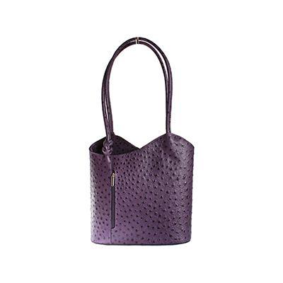 Multi-Way Purple Ostrich Leather Shoulder Bag/Backpack - £49.99