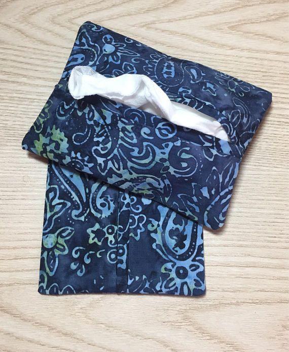 Purse Tissue Holders, Blue Batik Fabric, Pocket Tissue Holder, Tissue Case, Handmade, Gift for her, Tissue Pouch
