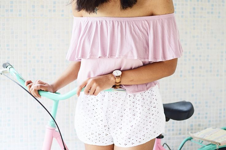 ruffle off shoulder dress white shorts outfit inspiration