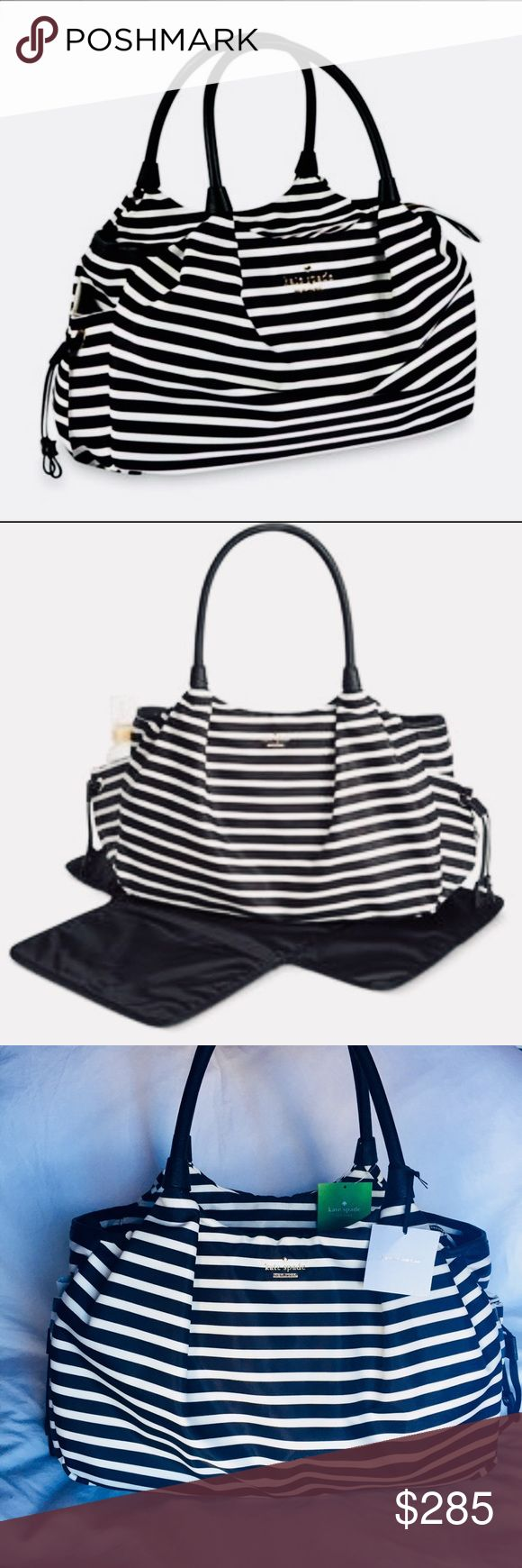 """♠️ Kate Spade ♠️ NWT diaper bag SIZE 10.9""""h x 17.2""""w x 7""""d drop length: 8""""  MATERIAL durable woven nylon with crosshatched leather trim custom woven bookstripe print on poly twill lining 14 karat gold plated hardware  DETAILS baby bag with zipper closure double slide pockets, zipper pocket, changing pad slide pocket and exterior bottle pockets  Offers Welcome 💕 kate spade Bags"""