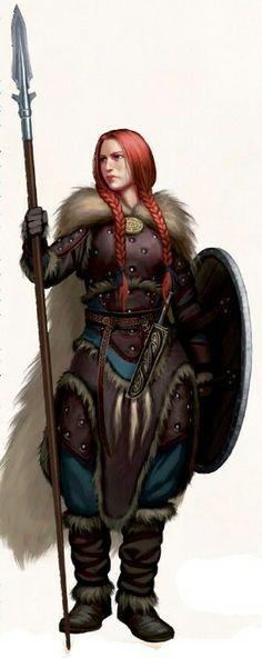 Kriegerin, rote Haare, Speer, Schild, Pelz