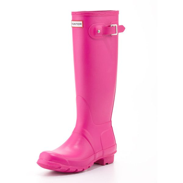 Hunter Boot Original Tall Welly Boot, Lipstick Pink ($93) ❤ liked on Polyvore featuring shoes, boots, gumboots, pink boots, rubber sole boots, wellies boots, wellington boots and knee high buckle boots
