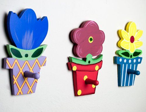 Set of 3 Wooden Clothers Hooks in Bright Flower Design Danya B http. Set of 3 Wooden Clothers Hooks in Bright Flower Design Danya B