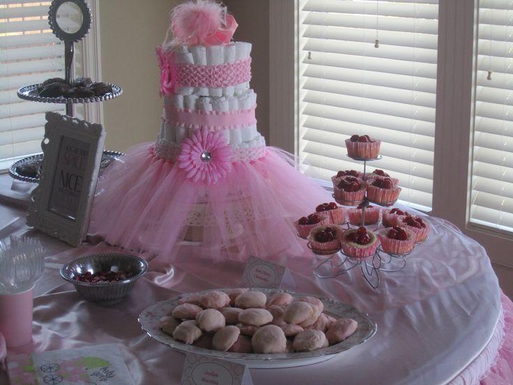 Diaper Cake Ideas For A Girl : Baby Girl - Tutu Diaper Cake Diaper Cakes Pinterest ...