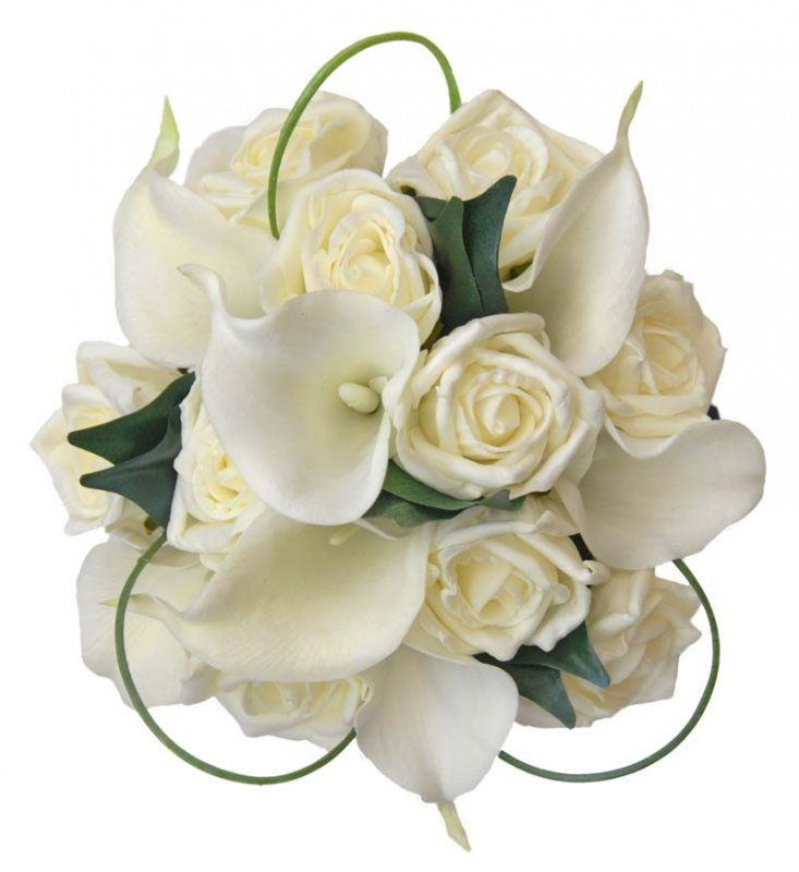 A captivating handmade bridesmaids wedding bouquet made by  Sarahs Flowers. Featuring in this bouquet are soft touch natural ivory Zantedeschia (Calla Lilies), they look realistic and soft to touch.  Along with ivory foam roses, lush green fiscus leaves and loops of baregrass. The long handle is ribboned with forest green satin  ribbon decorating the handle is a criss cross pattern of narrow  ivory satin ribbon and pinned into place with a diamantie pin.