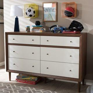 Baxton Studio Harlow Mid-century Modern Scandinavian Style White and Walnut Wood 6-drawer Storage Dresser   Overstock.com Shopping - The Best Deals on Dressers