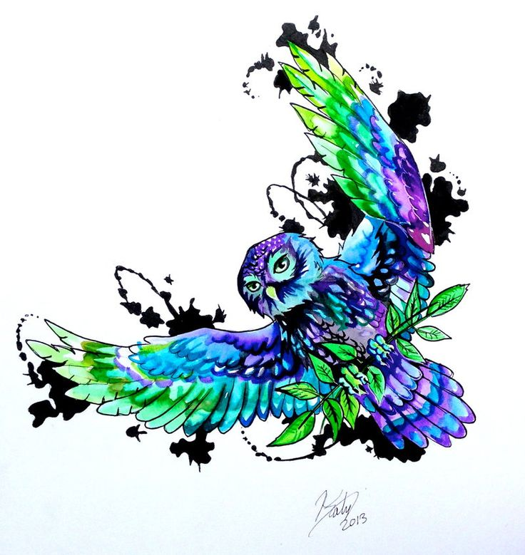 Owl Tattoo Design by Lucky978.deviantart.com on @deviantART black, purple, blue, and green Little Owl (Athena's Owl) holding ash leaves with ink splatters in the background.