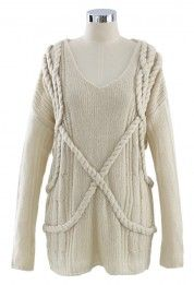 V-Neck Oversize Sweater in Ivory
