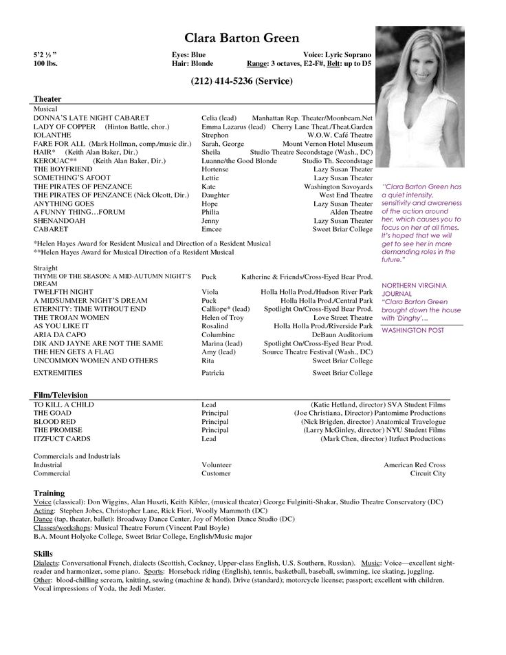 resume example good acting with simple and nice within examples pinterest theater template tvs