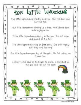 Five Little Leprechauns - A St. Patrick's Day Poem FREE
