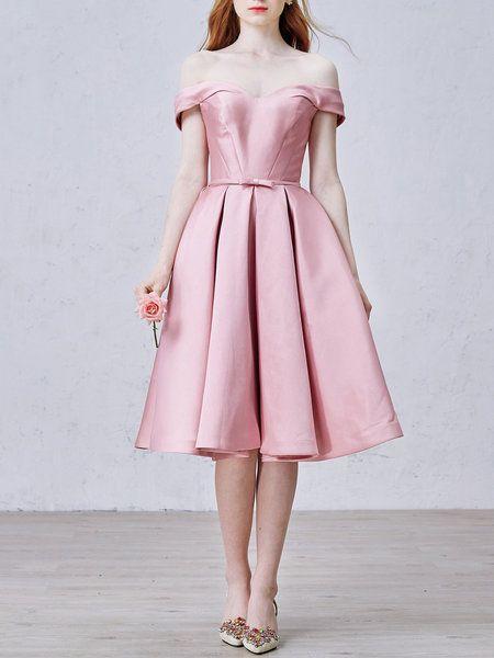 Shop Midi Dresses - Pink Vintage Bow Plain Evening Dress online. Discover unique…