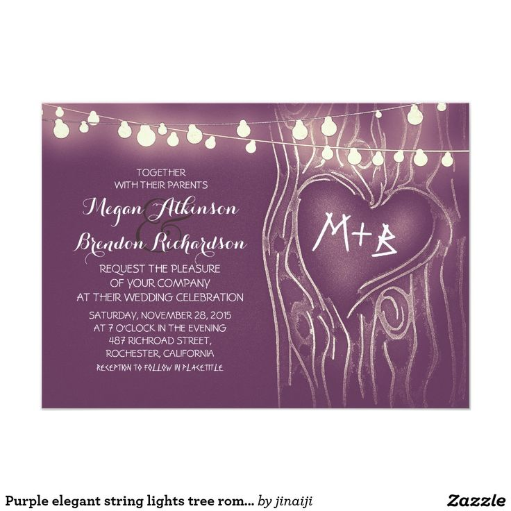 618 best wedding elegant invitations images on pinterest purple elegant string lights tree romantic wedding invitation stopboris Choice Image