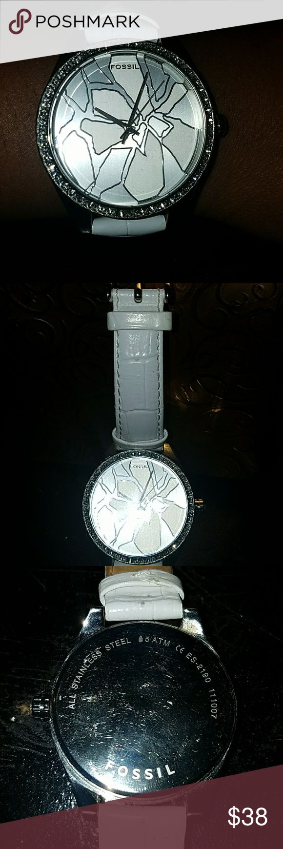 Sparkle Watch (battery not included) Authentic Fossil Ladies watch, embossed genuine leather Fossil Accessories Watches