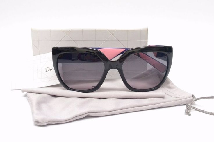 Authentic Christian Dior CD Sunglasses Dior3R Quilted Rubber Black Navy Pink CD #ChristianDior #Butterfly