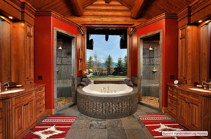 Log cabin fabulous bathroom home kitchen bathroom for Kitchen jackson hole
