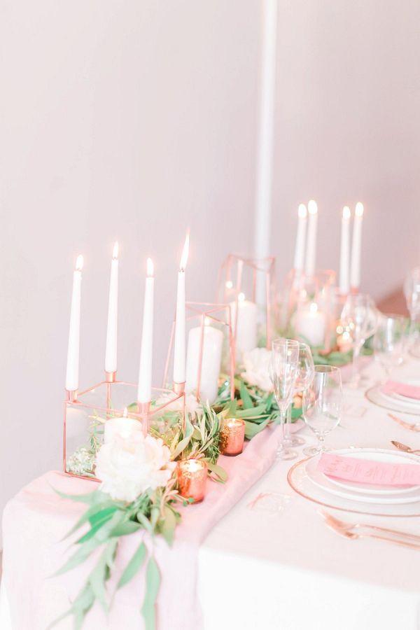 Modern pink and copper tablescape    #wedding #weddingideas #aislesociety #metallicwedding