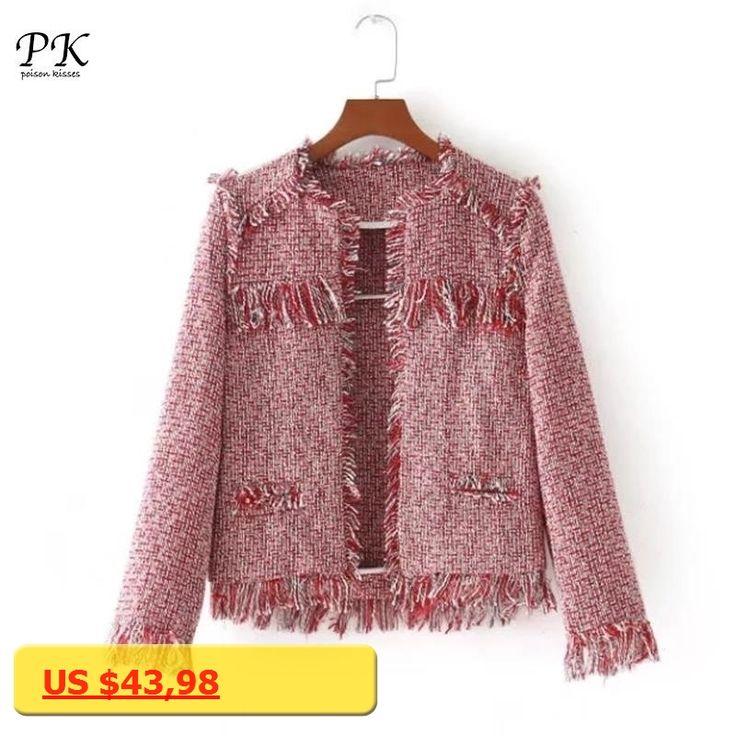 PK 2018 Spring Basic Jackets O Neck Pink Fringe Outwear Checkered Fashion Office Wear Ladies Jackets Coat Women Tweed Jacket
