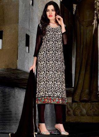 Black Embroidery Work Georgette Chiffon Silk Designer Fancy Churidar Suit http://www.angelnx.com/Salwar-Kameez/Churidar-Suits
