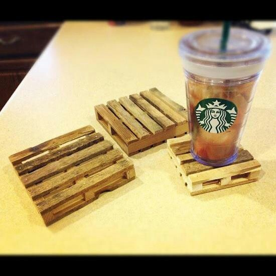 DIY PALLET COASTERS. Use popsicle sticks and hot glue!