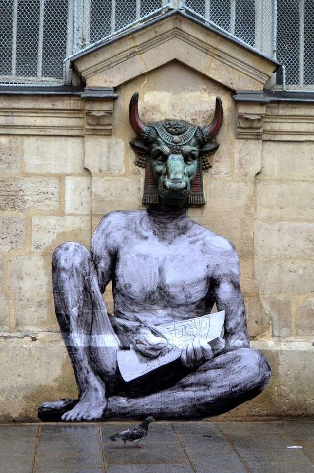 """Charles Leval - Aka """"Levalet"""". Levalet met en scène des personnages en noir et blanc dans les rues de Paris."""