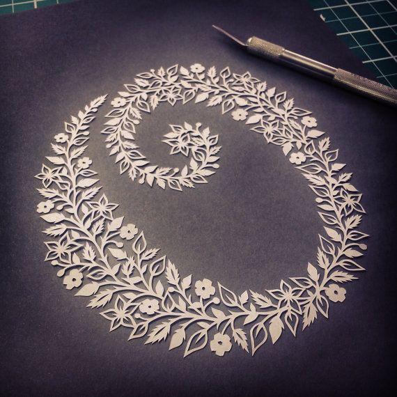 Papercut initiale  oeuvres d'art originales par FolkArtPapercuts