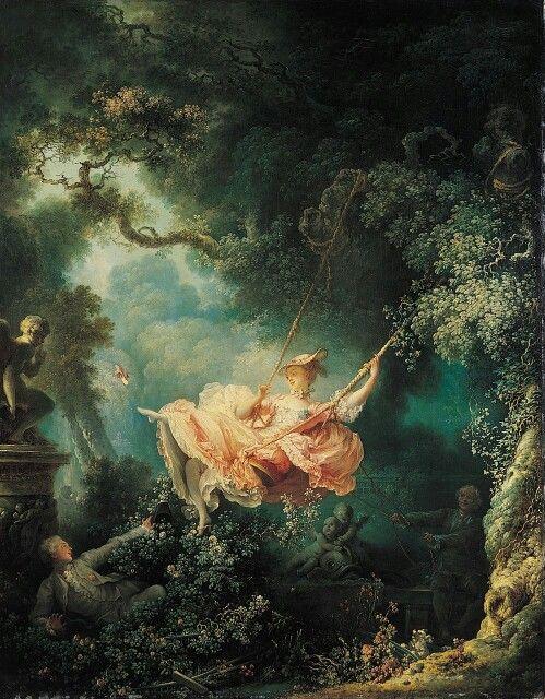 """The Swing""Jean-Honoré Fragonard ok.1767, style rococo"