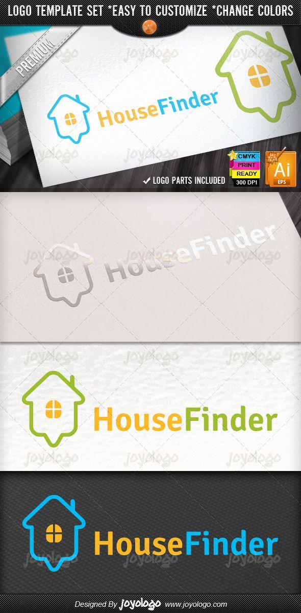 Online House Finder Map Pointer Home Locator Logo Design Template