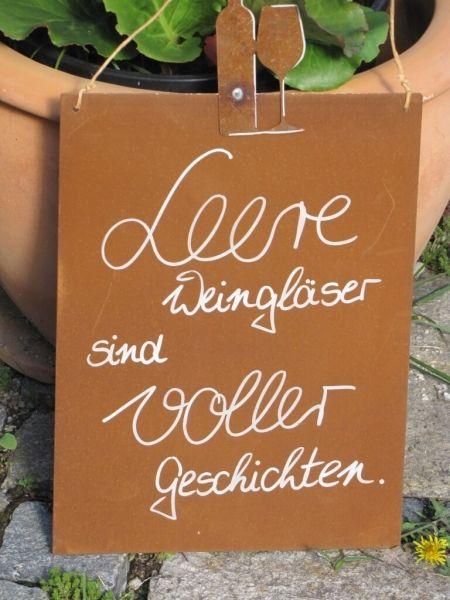 """Edelrost Schild mit Weinflasche und Glas """"leere Weingläser"""""""