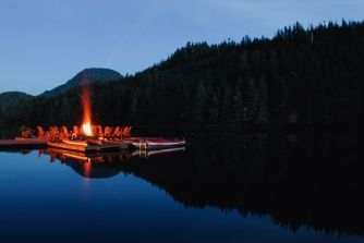 Relax on the floating fire pit