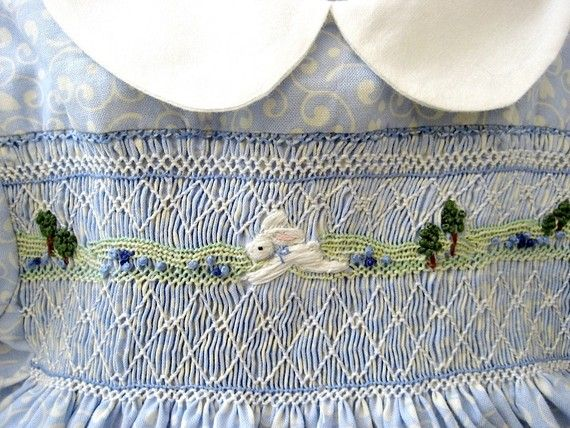 Hand Smocked Hand Embroidered Girls Dress Size by rabbitwhiskers, $185.00