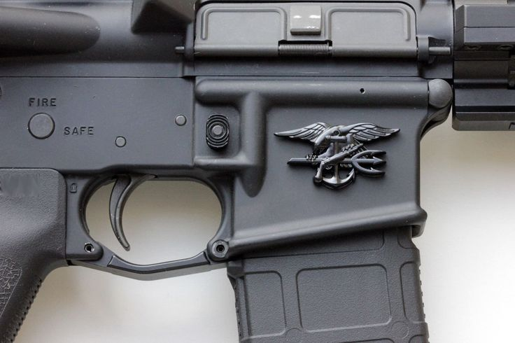 Black Metal Navy Seal Trident, AR15 Magwell Decal