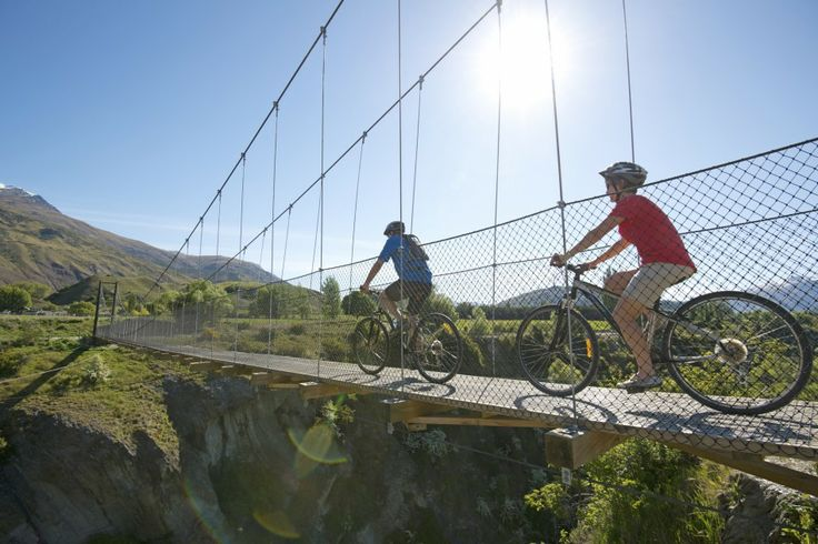 Crossing Edgar Bridge on the Queenstown Trail Cycle and Walkway