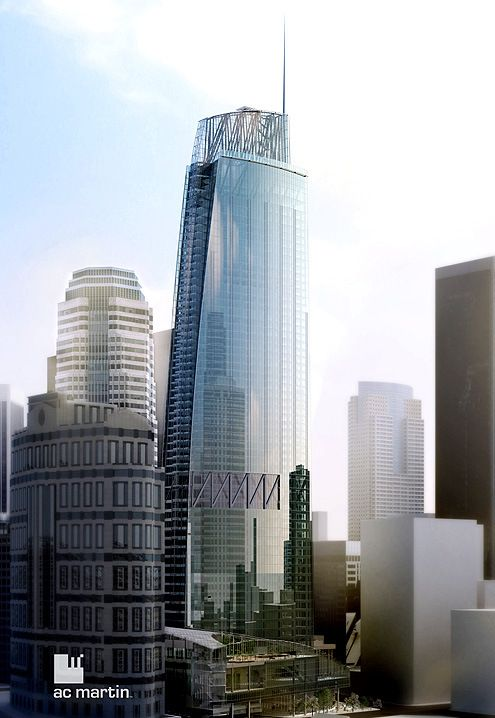 A rendering of the Wilshire Grand Tower that will rise at 7th and Figueroa in Downtown LA's Financial District with a height of 1,100 feet tall to the spire (Photo: AC Martin)  Estimated completion date: 2017