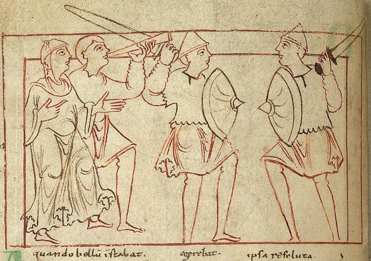 Indulgence making her way to war. Psychomachia 'Conflict Of The Soul', Anglo-Saxon, British Library, MS Cotton Cleopatra C VIII, c.1000