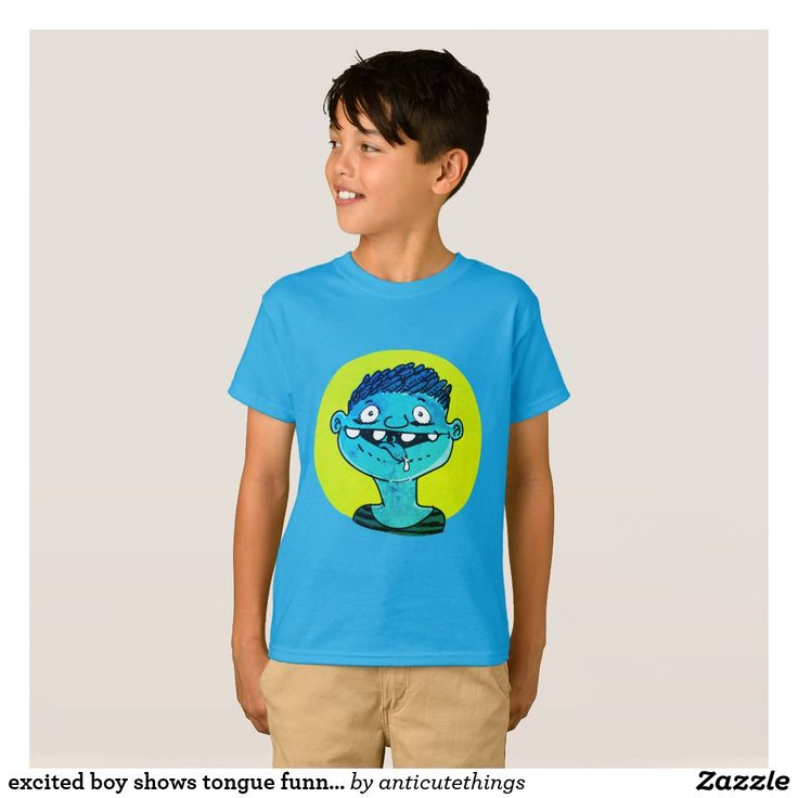 excited boy shows tongue funny cartoon #excited #energetic #funny #cartoon #kids #cartoonkids #trendy #vibrant #caricature #fun #design #tshirtdesign