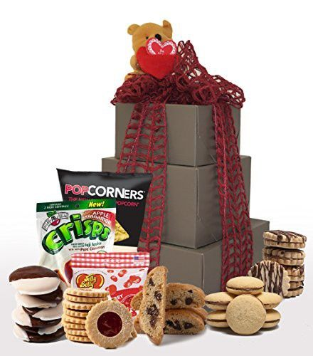 XOXO! Kosher Valentines Day Gluten Free Gift Basket, Gluten Free Valentine Treats, Valentine Gift Basket, Tower Gift Boxes (Large)