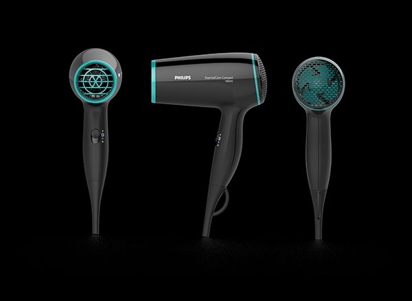 Compact hair dryer. Bright color contrast. revealed fan