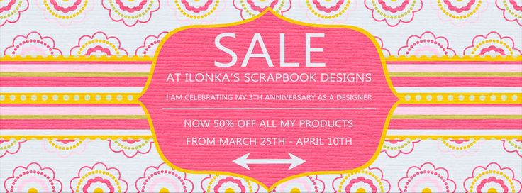 Digi Anniversary Sale with Ilonka's Scrapbook Designs! Ilonka has been Designing for three years now & she is having a 50% Sale to celebrate in all her Stores! Sale valid through April 10th. DigitalCrea; http://digital-crea.fr/shop/?main_page=index&manufacturers_id=177. 03/28/2016