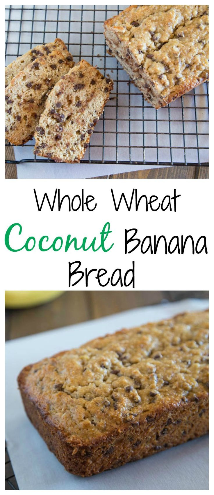 Whole Wheat Coconut Banana Bread - a moist whole wheat banana bread made with coconut oil, shredded coconut, and chocolate chips.