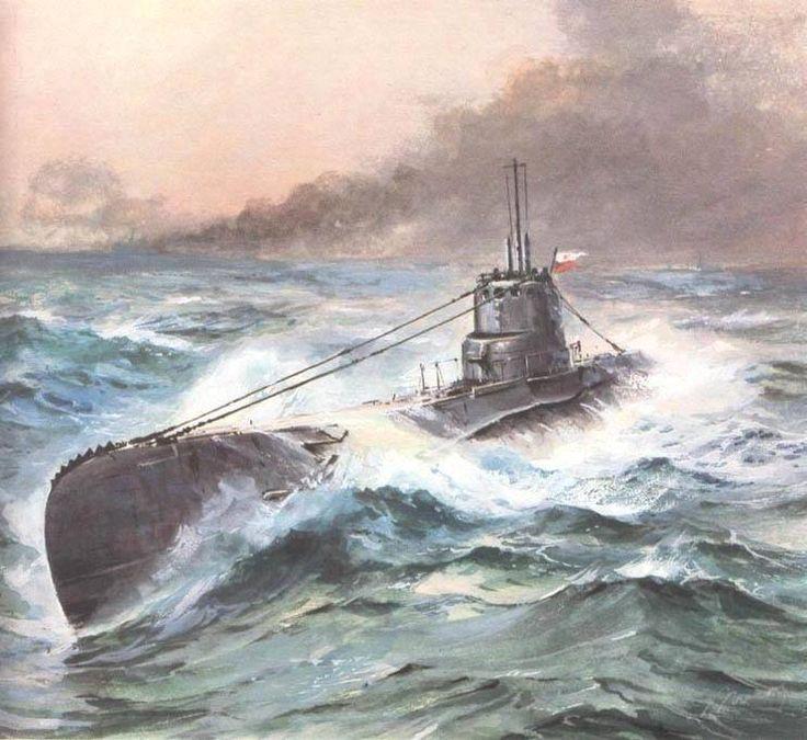 ORP Orzeł (1939) – polski okręt podwodny typu Orzeł. Rys. Adam Werka.