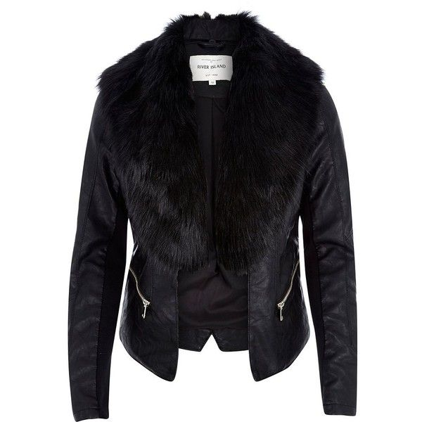 River Island Black leather-look faux fur jacket ($130) ❤ liked on Polyvore featuring outerwear, jackets, river island, black, coats / jackets, women, black faux fur jacket, fake leather jacket, vegan jackets and faux leather jacket