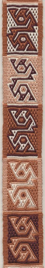 Double birds motif on a double woven band in pebble weave. There are many  colour combinations possible. Marijke van Epen