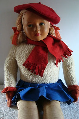 "Vintage Dean's Rag Book Coronation  40"" cloth Doll ....Photo via Ebay"
