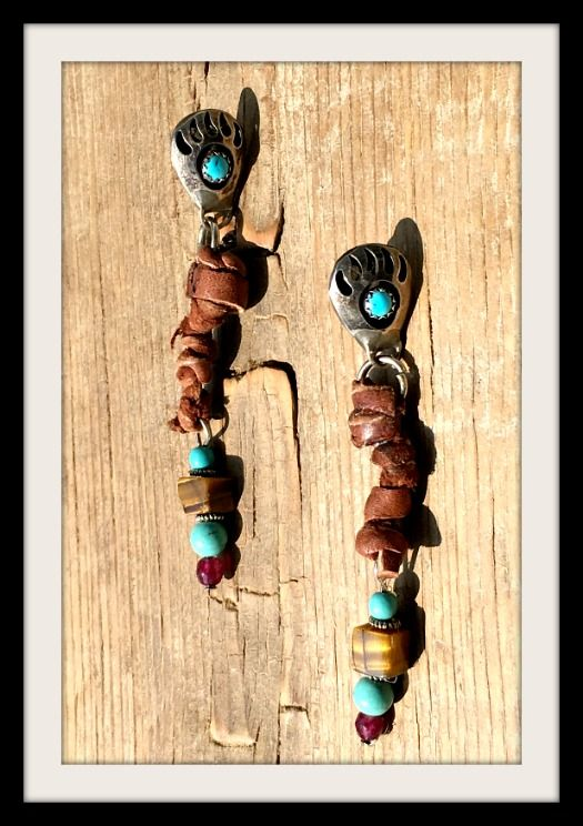 COWGIRL STYLE STERLING SILVER GEMSTONE EARRINGS Sterling Silver N' Turquoise Indian Bear Paw with Tiger's Eye Earrings  #sterlingsilver #earrings #jewelry #turquoise #bearpaw #leather #beautiful #boutique #handmade